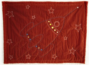 Spaceship 100% cotton velvet 26 inches x 35 inches