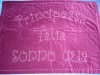 """Princess Talia sleeps here"". A beautiful deep fushia with pink thread. A bit hit with the aunts and nanas!"